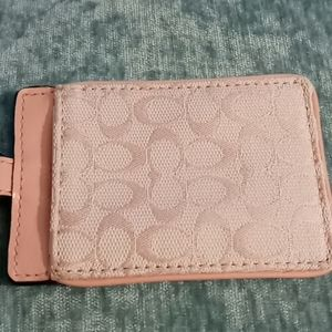 Pink Signature Coach ID/ badge holder